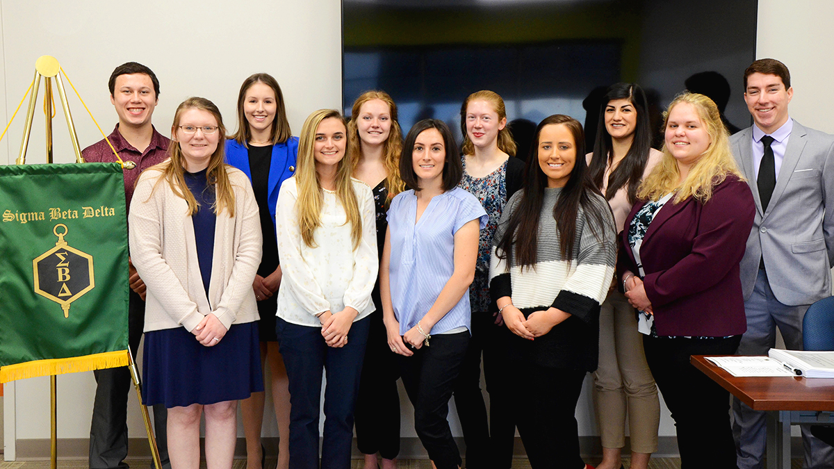 Twelve students were inducted into the Penn State Altoona chapter of Sigma Beta Delta Business honor society.