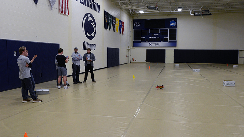 Student teams compete in the air portion of the SeAL challenge on Friday, April 12 at Penn State Altoona.