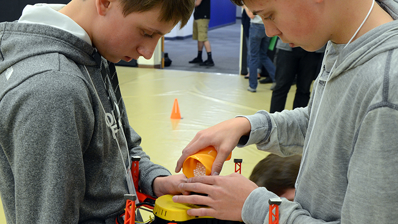Students prep their drone for the air portion of the SeAL challenge on Friday, April 12 at Penn State Altoona.