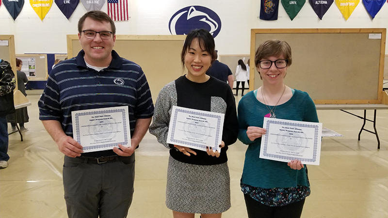 Student award recipients in the Health and Life Sciences poster competition pose with their certificates