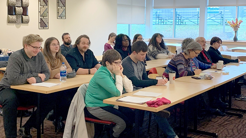The audience for the fall 2019 senior English presentations