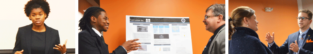 Photos of students presenting at the biannual student showcase