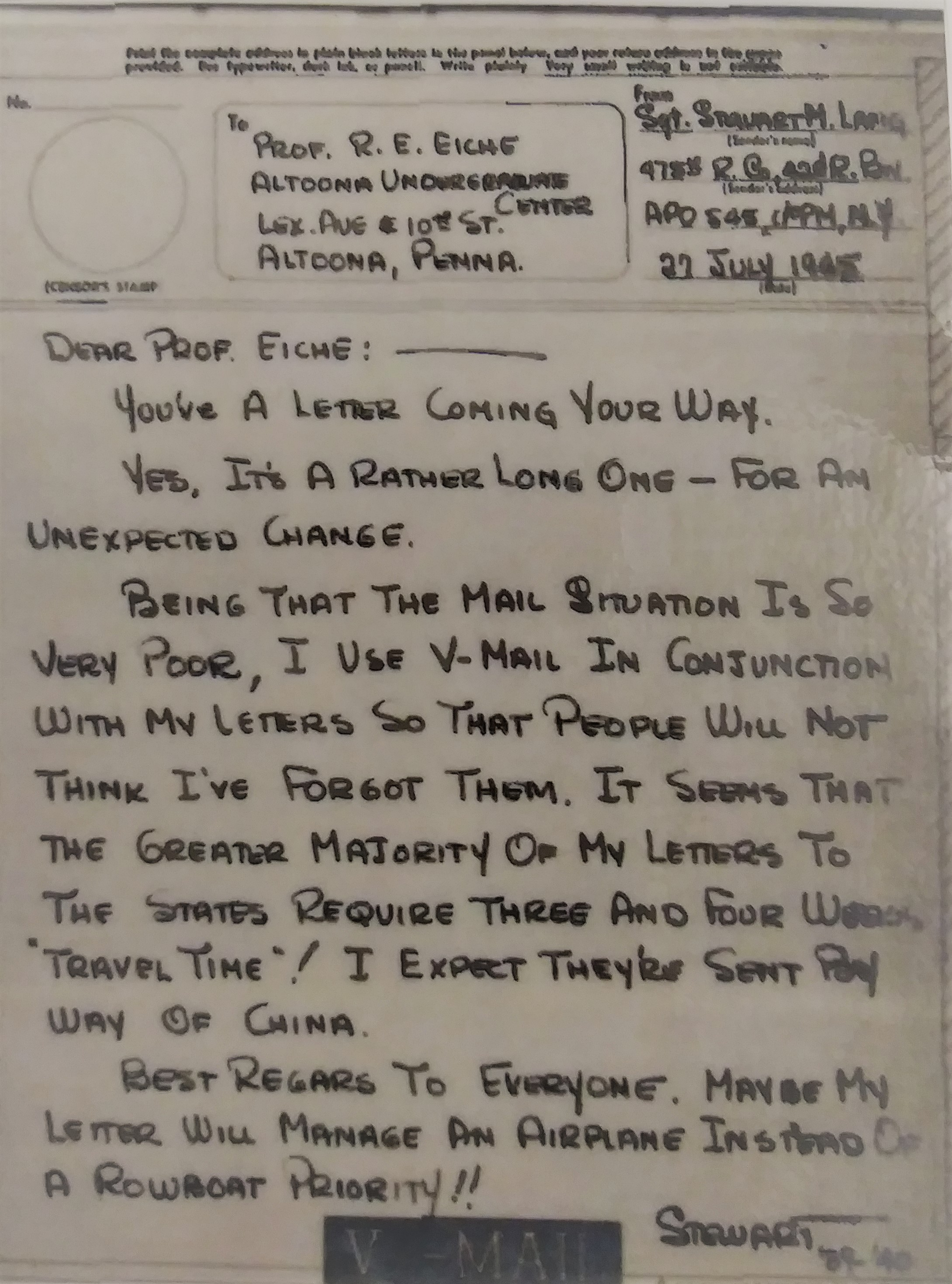 Image of a piece of Victory Mail from a Penn State Altoona student during World War II.