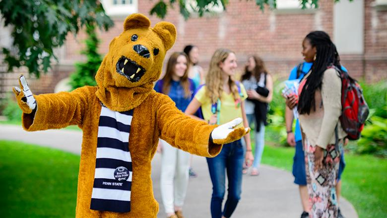 Nittany Lion welcoming you to visit