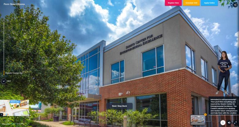 Virtual Tour Screen - Sheetz Center for Entrepreneurial Excellence