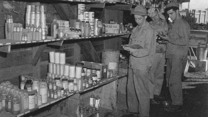 This 1942 U.S. Army photo shows a typical field pharmacy that chemists like Hengst worked in.
