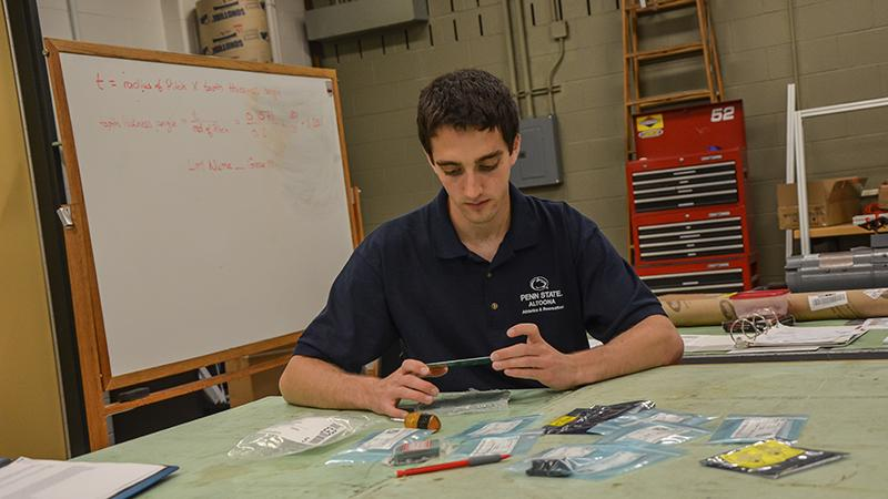 Andrew Matzik at work in one of Penn State Altoona's EMET labs