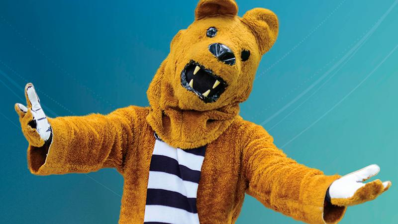 Nittany Lion in front of a blue background