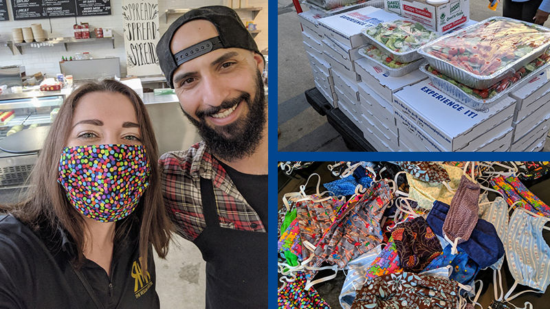 Three photos. Angela Buccellato poses with the owner of a restaurant, a cart loaded with food items, and a pile of homemade masks