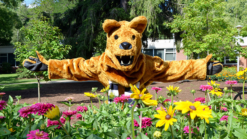 Nittany Lion and flowers