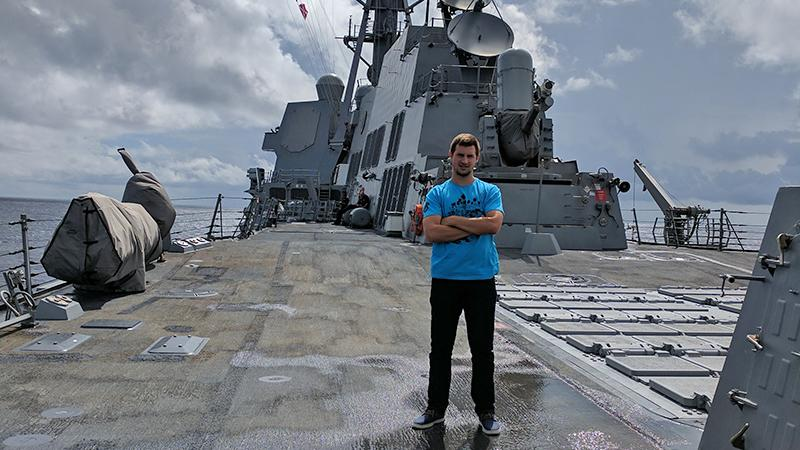 Steve Mullen on the deck of a Navy vessel