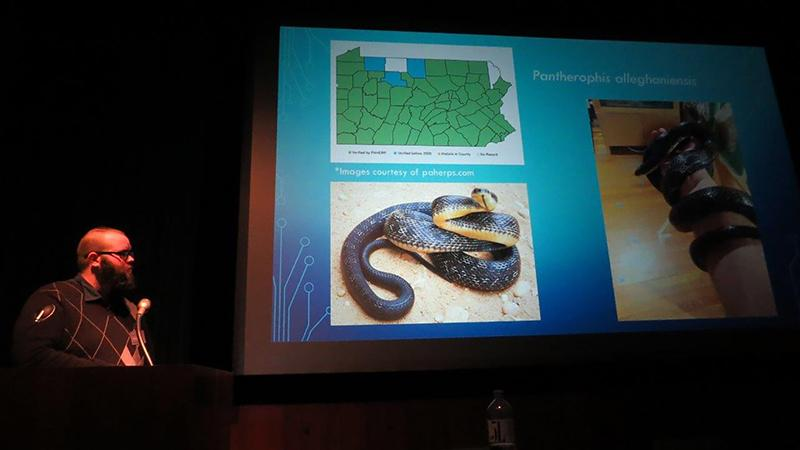 Vaughn presents on his internship at the Austrian Herpetological Society's annual conference in January.