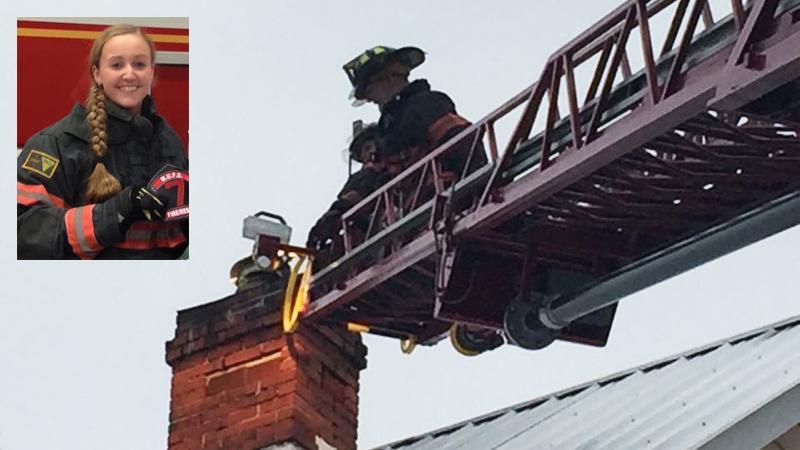Jamie White in firefighter uniform