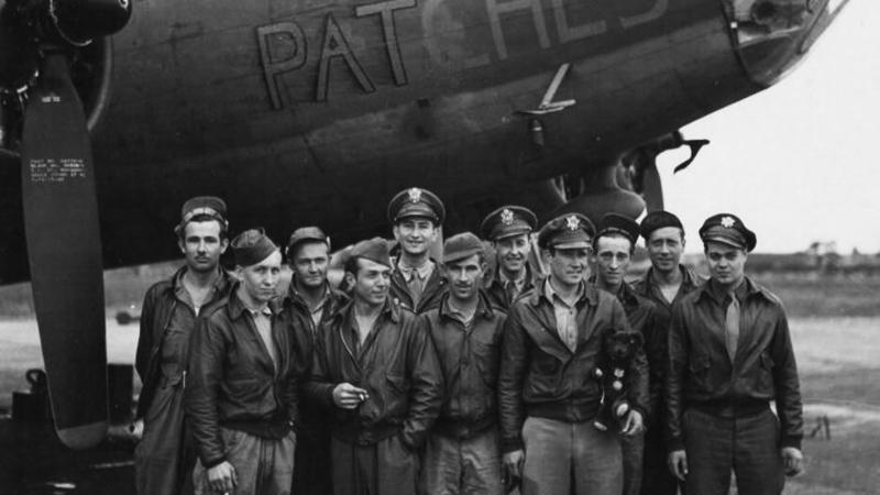 Penn State student William Moyer and the rest of the Patches crew in England in 1946. During WWII, Moyer was shot down from his plane and was a POW.