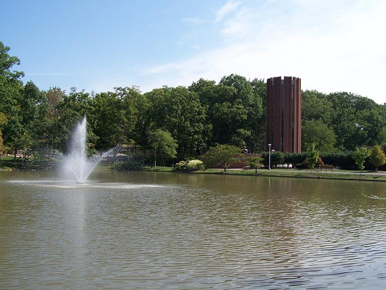 Pond, fountain, and Eve Chapel