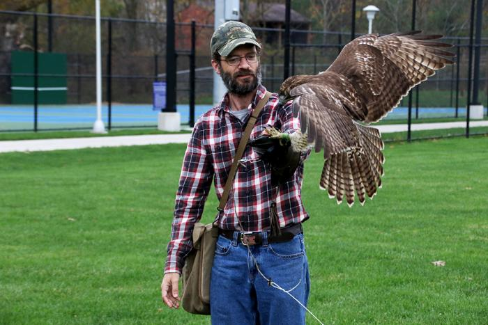 Sam Findley and his red-tailed hawk