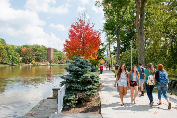 Students walking on the Penn State Altoona campus.