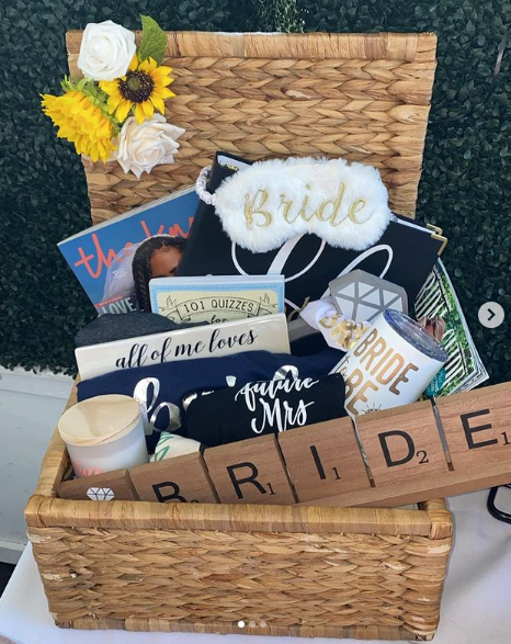 A basket of goodies created for a Strange Events event