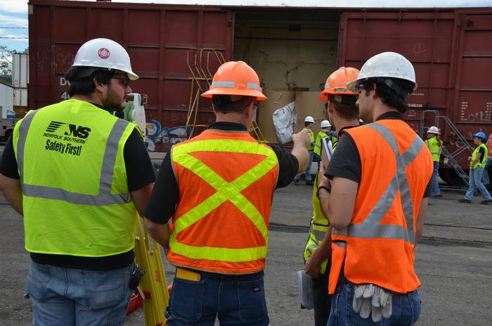 Brian Daniel of Leica Geosystems Teaches RTE students to use Leica SafeLoad© Measurement system to measure freight cars at Norfolk Southern's Rose Yard in Altoona, PA