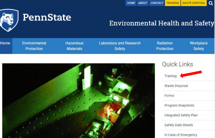 Screen capture of the EHS homepage with an arrow indicating the quick link to training
