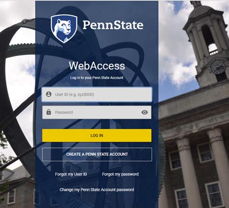 Screen capture of the standard PSU WebAccess log in screen