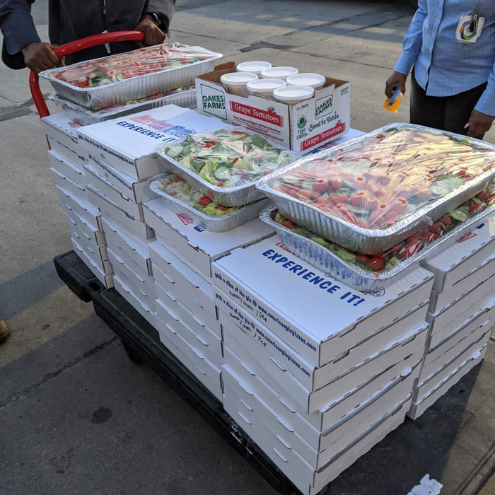Food gathered by Angela Buccellato to be delivered to the staff at hospitals in her region.