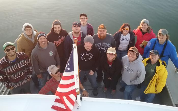 Students and faculty on Chesapeake Bay