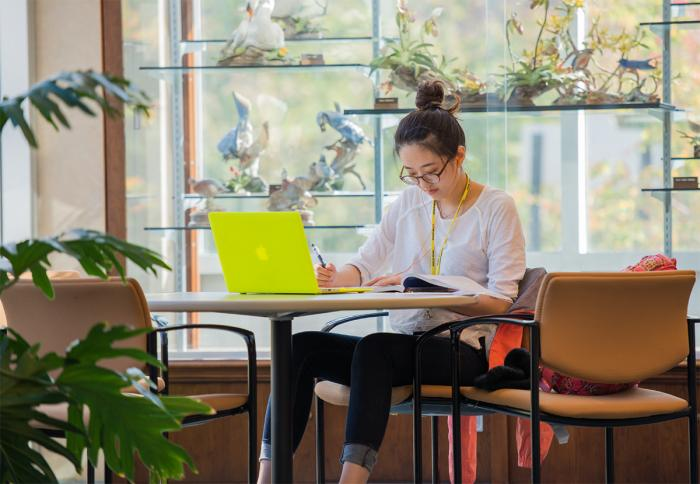 Open Doors | A student studies in the Eiche Library