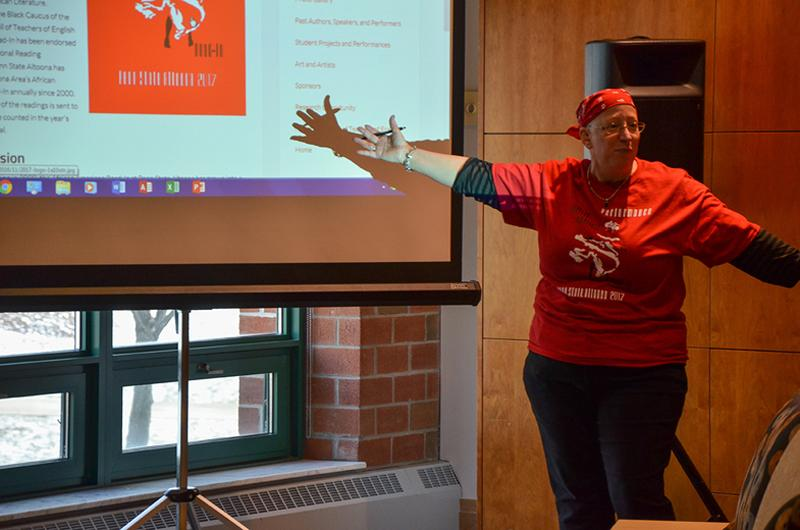 Faculty member Robin Reese presents at the 2017 African American Read-In