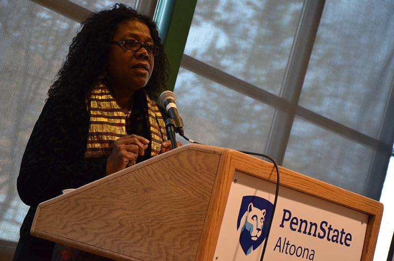 Faculty member Patricia Jabbeh Wesley presents at the 2017 African American Read-In