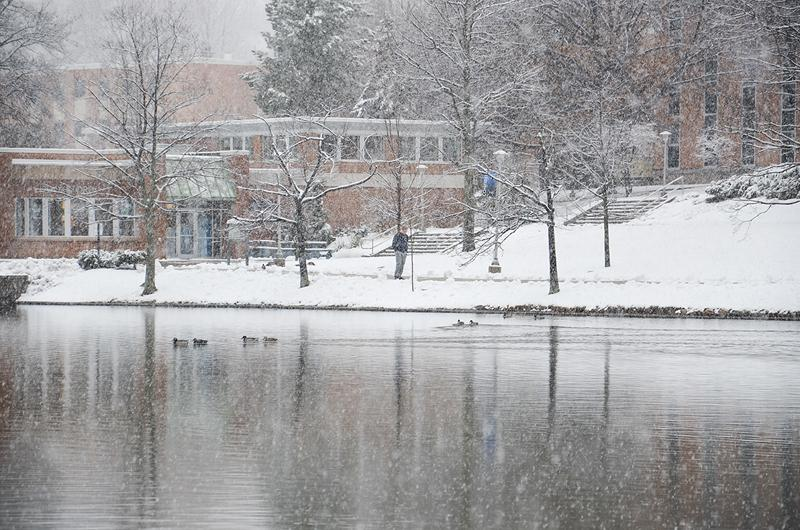 A view of the bookstore and oak hall across the pond