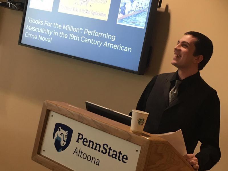 A senior English student offers a senior presentation