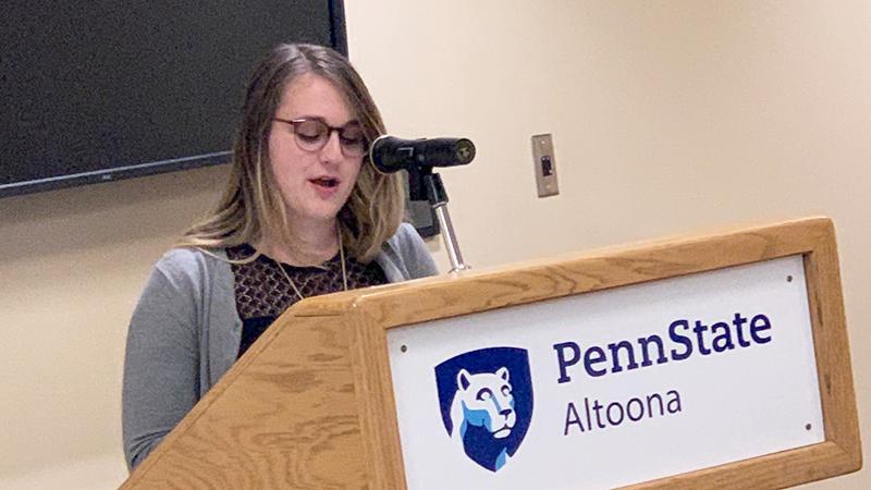 An English student offers a senior presentation