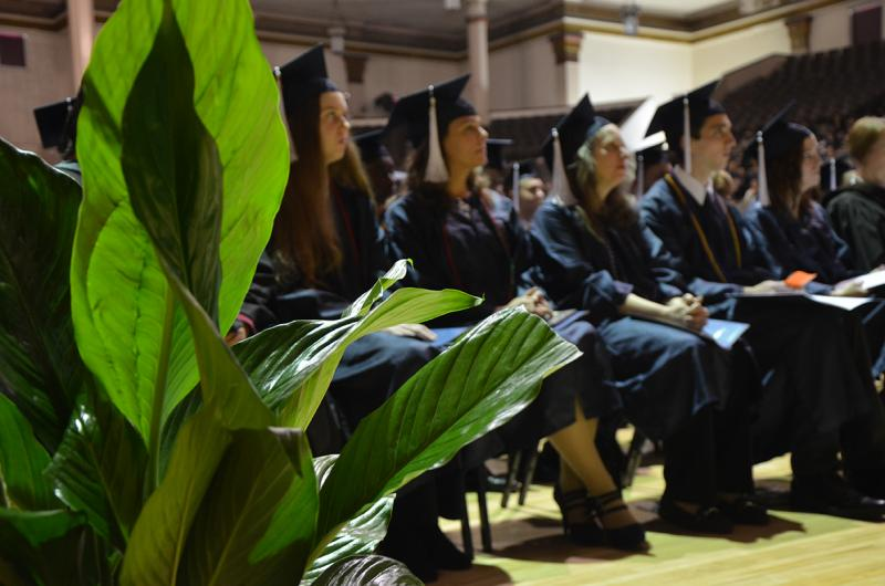 Graduates attending the Fall 2017 Commencement ceremony.