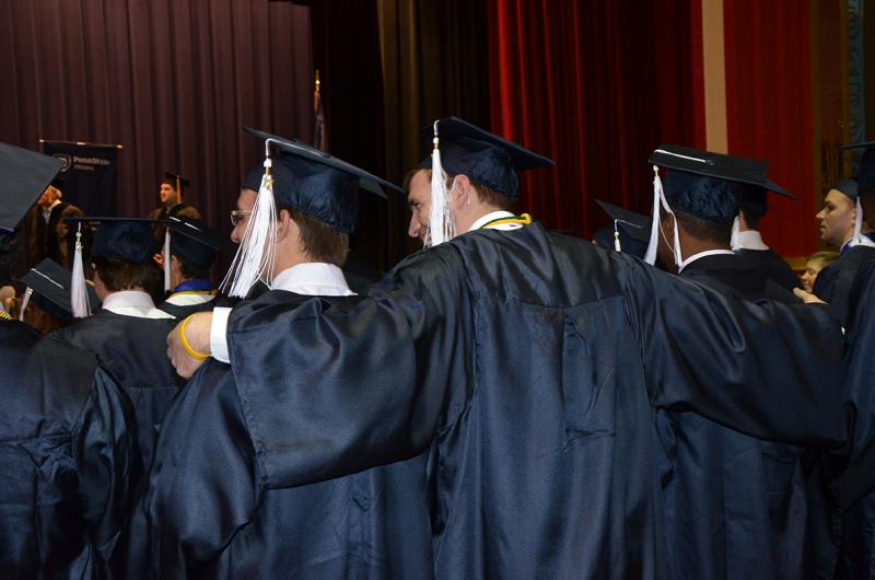 Students celebrate at the Fall 2017 Commencement ceremony