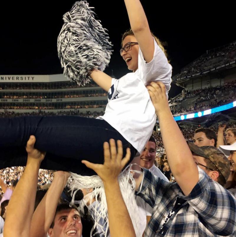 Gabrielle Davidson cheering on the Penn State football team