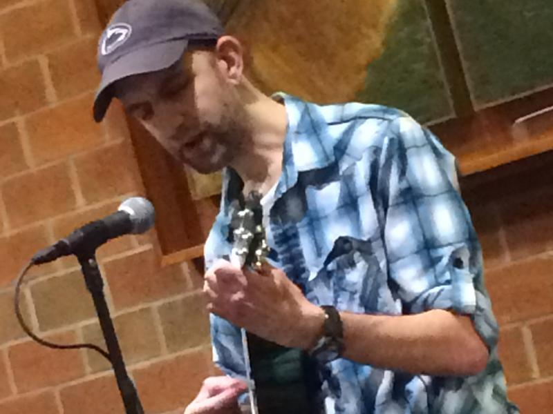 A Penn State Altoona alum performs a number at the Hard Freight Cafe.