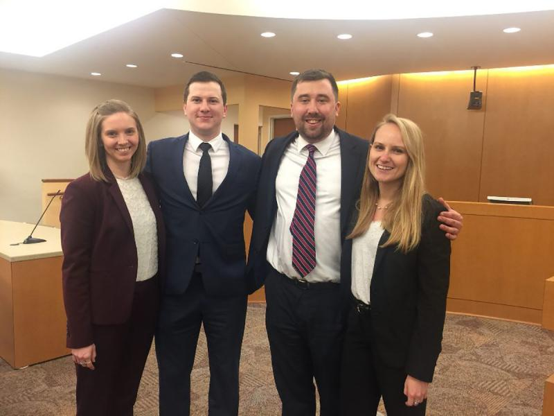Caitlyn Idoine, Jesse Knowlden '13, Andrew Radin, Ruby Wilz, the four University of Cincinnati law students working on the Ru-El Sailor case at the time of his release from prison.
