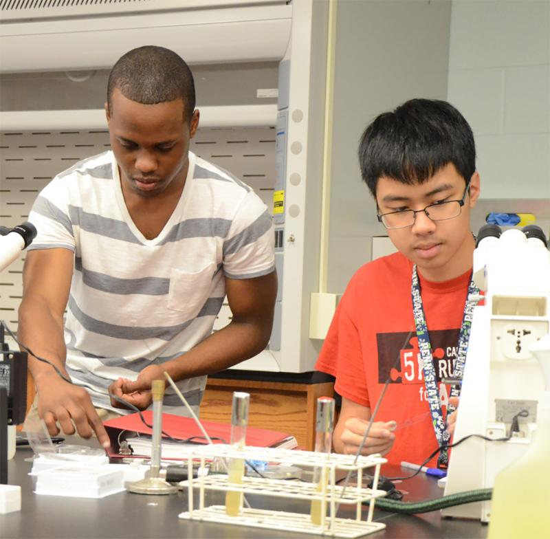 Students work in a science lab on campus