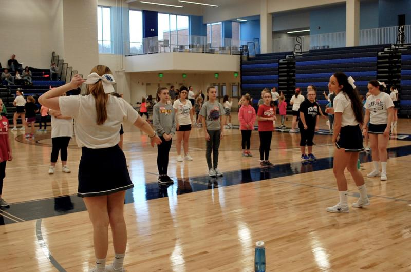 Penn State Altoona cheerleaders run a mini cheer clinic
