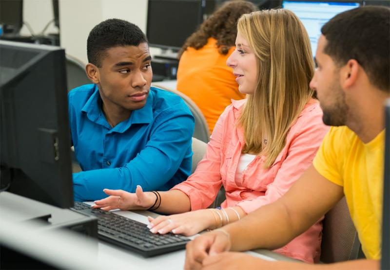 Students work on a project in a computer lab