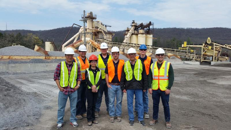 RTE Students and Faculty visiting asphalt plant