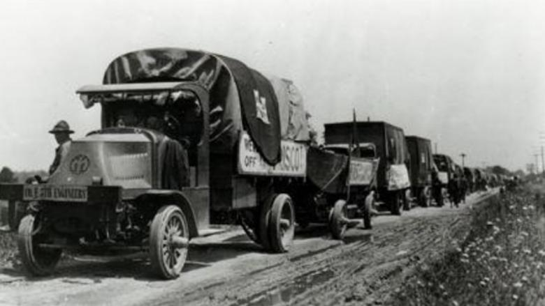 A photo of President Eisenhower's 1919 Convoy across the U.S.