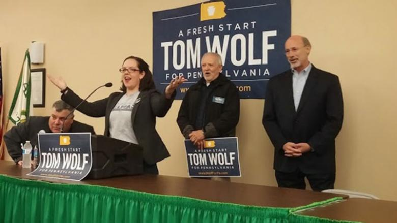 Kratzer at a rally for Tom Wolf before he was elected governor of the state