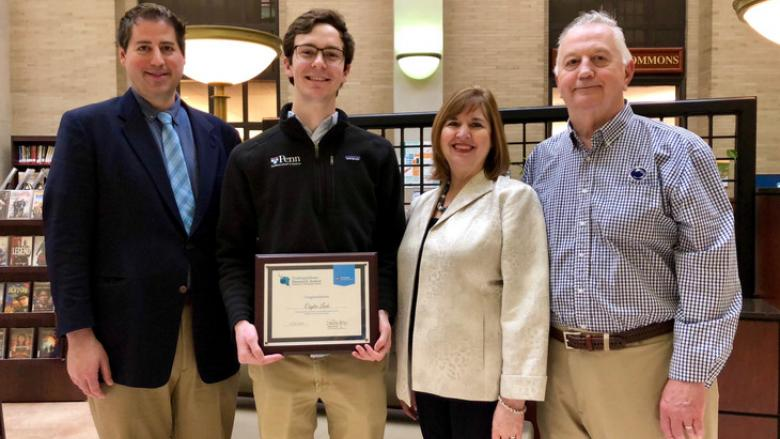"Cuyler Luck, a junior microbiology major, received the John Sr. and Kimlyn Patishnock Grand Prize for his research, ""Identifying Drug-Drug Interactions Between Experimental Antimalarials."""
