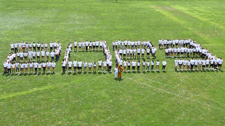 Penn State Altoona class of 2023 spelling out a giant 2023 on the athletic fields