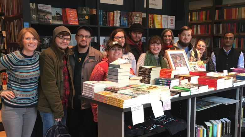 Students and faculty in a bookstore