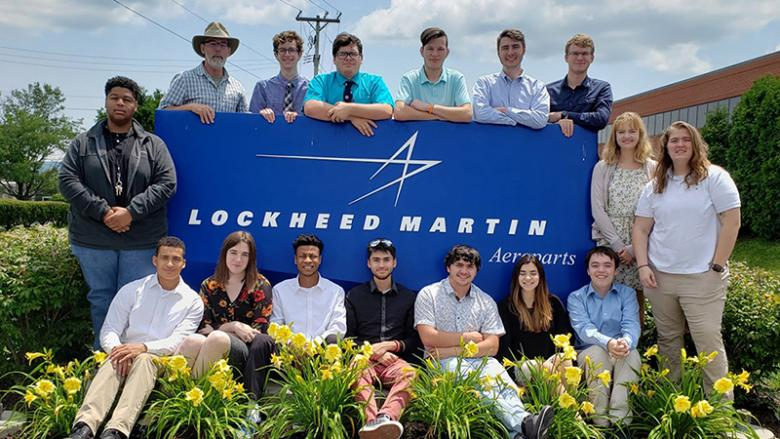 Summer 2019 Engineering Ahead students and faculty visit a Lockheed Martin facility