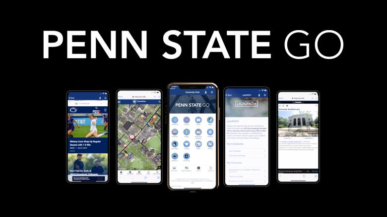 Screenshots of Penn State Go mobile app features on various mobile devices.