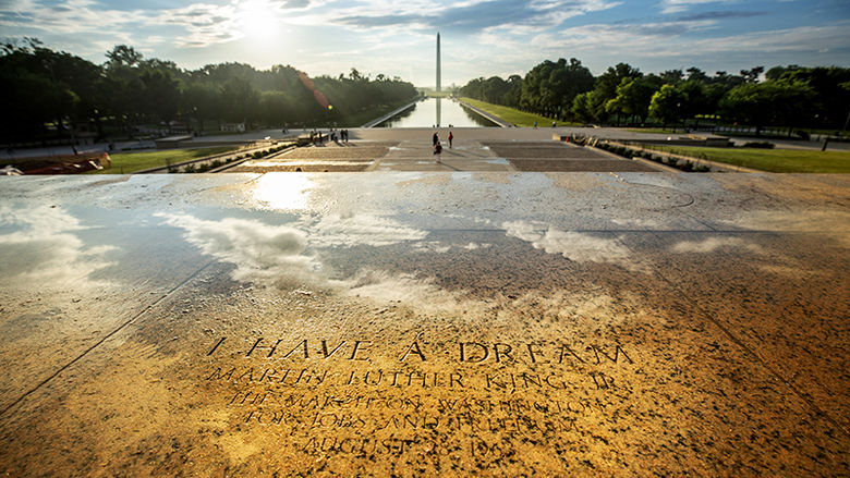 I Have a Dream etched in stone near the Washington Monument
